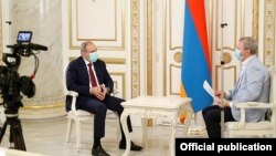 Armenia - Prime Minister Nikol Pashinian is interviewed by Russian RBC TV, Yerevan, July 25, 2020.