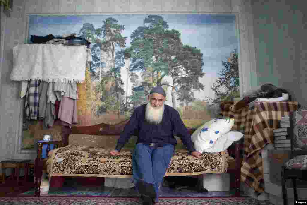 Salafi preacher Abdurakhim Magomedov at his home in the village of Novosasitli.