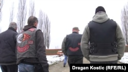 Members of the Russian motorcycle club, the Night Wolves, in the Serbian town of Sid on March 20. They traveled to Bosnia-Herzegovina the following day.