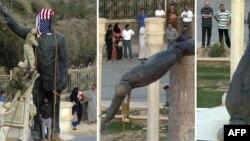صورة مركبة لمراخل إسقاط تمثال صدام حسين في ساحة الفردوس ببغداد يوم 9 نيسان 2003