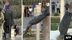 إسقاط تمثال صدام في ساحة الفردوس وسط بغداد يوم 9 نيسان 2003