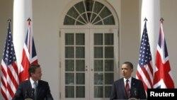 د امريکا ولسمشر براک اوباما او د بریتانییا وزیراعظم ډېویډ کېمرون په سپینه ماڼۍ کې ګډې خبرې غونډې ته وینا کوي.۱۴م مارچ ۲۰۱۲