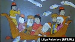 Картина Рамазана Усейнова посвящена исламскому сказанию о купце, жемчужинах и рыбах