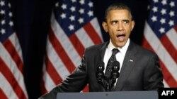 ԱՄՆ-ի նախագահ Բարաք Օբաման ելույթ է ունենում ընտրարշավի շրջանակներում Վաշինգտոնում կազմակերպված միջոցառմանը, հունվար, 2012թ.