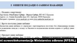 Print skrin dokumentacije sa sajta Ministarstva odbrane