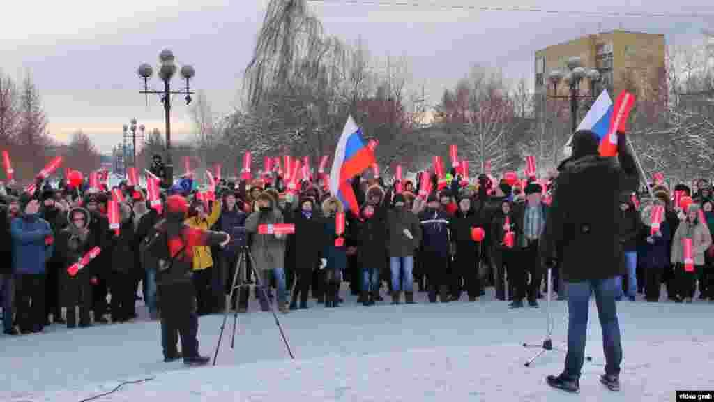 Акцию подхватили в Сибири. На фото: сторонники Навального в Красноярске.