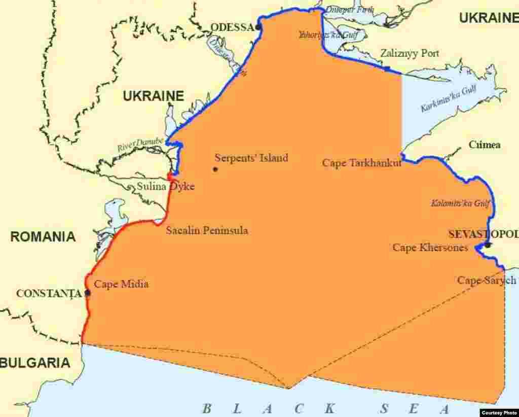 Карти району острова Зміїний із рішення Міжнародного суду – карта 2 - Зона делімітації, визначена Судом