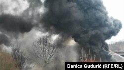 Požar u magacinu firme Poliester cevi u Priboju