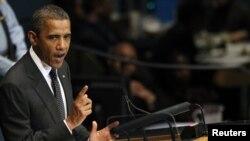 Presidenti Barak Obama gjatë fjalimit në Organizatën e Kombeve të Bashkuara.