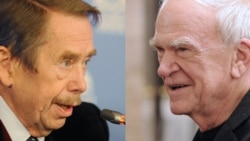 Former President Vaclav Havel (left) and writer Milan Kundera sparred in print