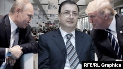Владимир Путин, Лев Леваев и Дональд Трамп, коллаж