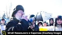 Писатель Роман Арбитман на митинге оппозиции. Фото предоставлено саратовским штабом Алексея Навального