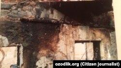 Сгоревший дом Ойдин Бадаловой, жительницы Байсунского района Сурхандарьинской области.