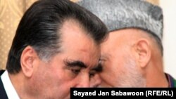 Tajik President Emomali Rahmon (left) met with his Afghan counterpart in Kabul