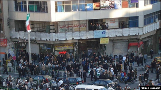 Protesters rally in solidarity with people in Egypt and Tunisia in Tehran on February 14.