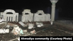 An Ahmadi graveyard in Lahore where grave stones have been vandalized.