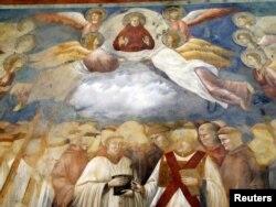 Фреска работы Джотто в базилике св. Франциска в Ассизи (Италия)