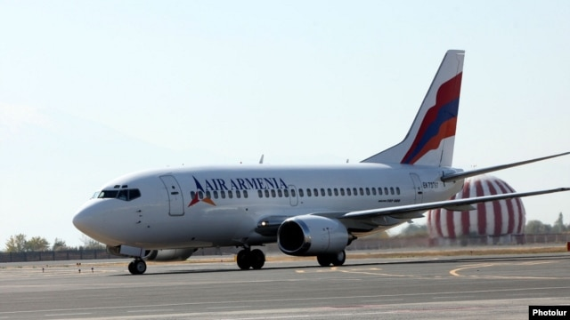 Armenia - An Air Armenia plane prepares for its inaugural commercial flight at Yerevan airport, 23Oct2013.