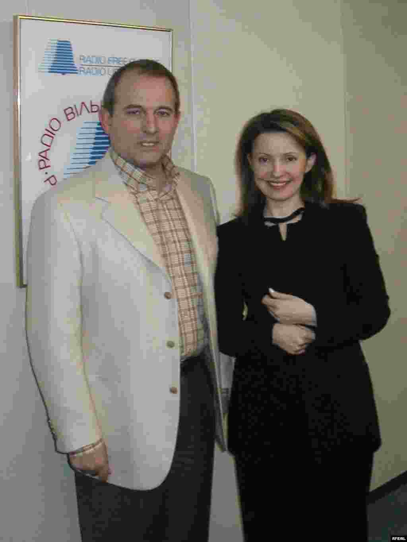 Виктор Медведчук и Юлия Тимошенко в студии украинской службы Радио Свобода 23 января 2002 года