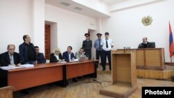 Armenia - A court hearing in the trial of three men charged in the January 31 shooting attack on presidential candidate Paruyr Hayrikian, Yerevan, 20May2013.