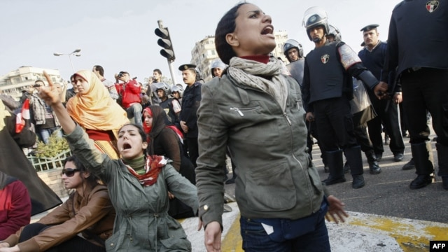 Women protesters, such as these on January 25, were among the first to take to the streets to demand the end of the regime of Egyptian President Hosni Mubarak.