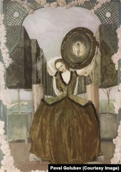 К. Сомов. Волшебство. 1898. Бумага, гуашь, акварель, золото. Русский музей.