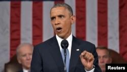 باراک اوباما در جریان نطق سالانه وضعیت کشور آمریکا. ۲۰ ژانویه ۲۰۱۵