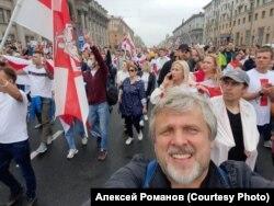 На протесте в Минске, август 2020 года