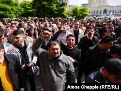 Opposition demonstrators gather on the 10th day of protests in Yerevan against Prime Minister Serzh Sarkisian on April 22.