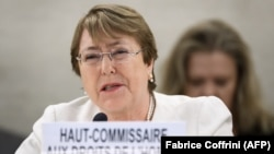 New High Commissioner for Human Rights Michelle Bachelet speaks on the opening day of the 39th UN Council of Human Rights in Geneva on September 10.