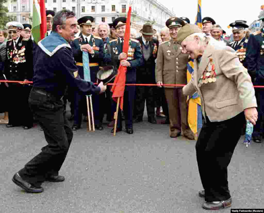 War veterans cut loose during Belarus's Independence Day celebrations.