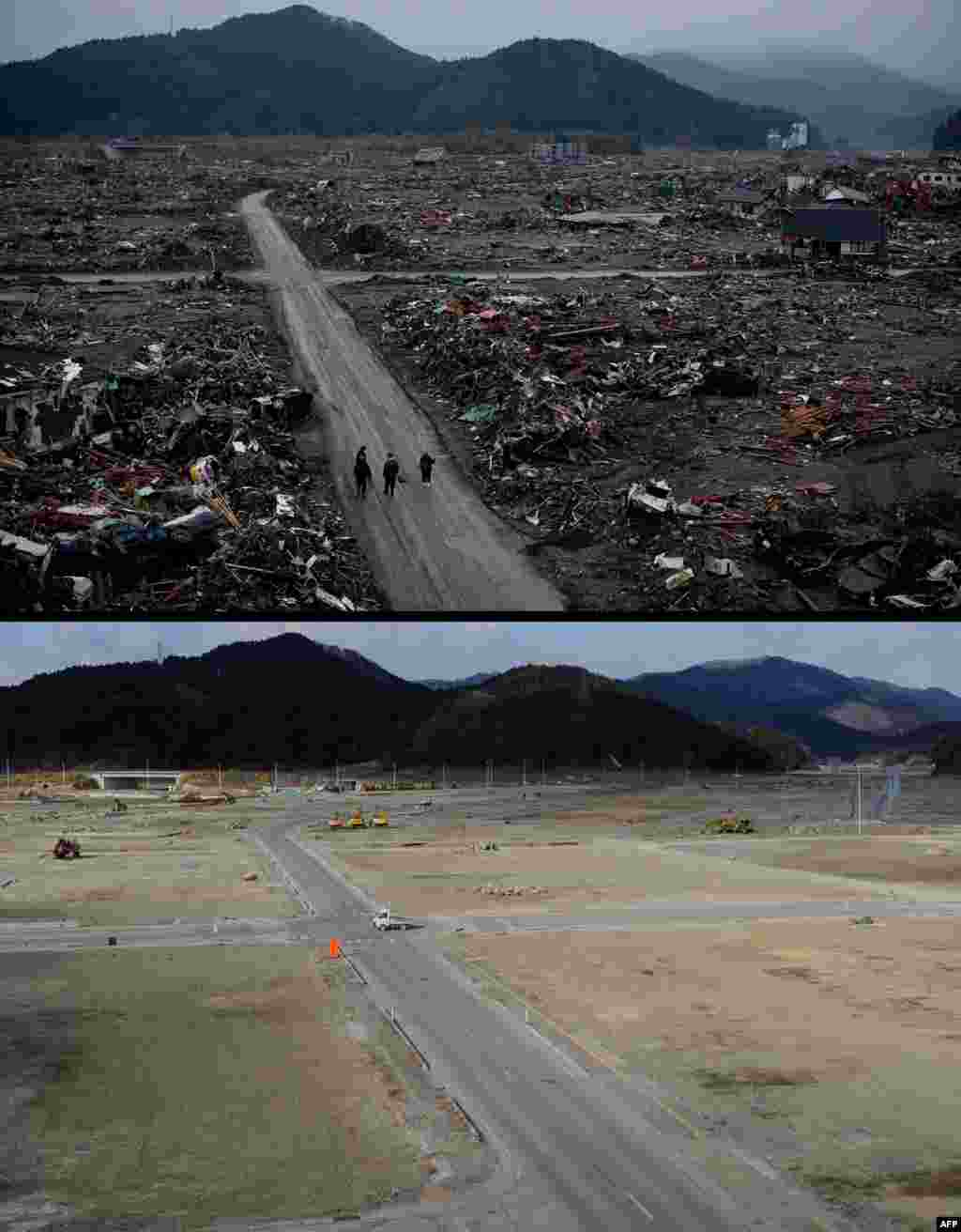 On top, the tsunami-hit area of Rikuzentakata, Iwate Prefecture, on March 22, 2011, and below, the same area on January 15, 2012