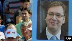 Radnici Železare Smederevo sa posterom premijera Srbije, ilustrativna fotografija