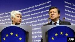 Hrvatska premijerka Jadranka Kosor i predsjednik Europske komisije Jose Manuel Barosso, 25. listopada 2010