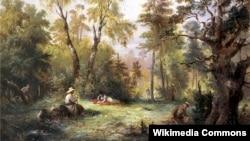 Францішак Кастшэўскі, «Зьбіраньне грыбоў» (1860). Ілюстрацыя да «Пана Тадэвуша» А. Міцкевіча