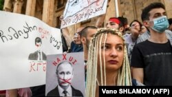 معترضان ضد روسیه در تبلیسی