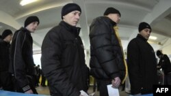 Ukrainian prison inmates wait to vote in the presidential election in January, eventually won by Viktor Yanukovych.