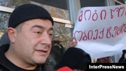Леван Гачечиладзе үзәк сайлау комиссиясе бинасы алдында, 08.12.2007
