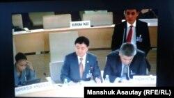 В зале заседания сессии Универсального периодического обзора ООН, где заслушивается отчет официальной делегации Казахстана. Женева, 30 октября 2014 года.