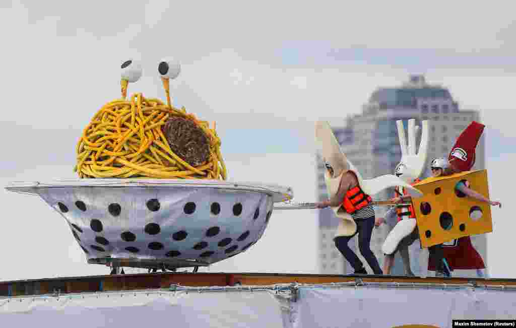 Members of the Pastafarians team perform during the Red Bull Flugtag Russia 2019 competition in Moscow on July 28. (AP/Dmitri Lovetsky)
