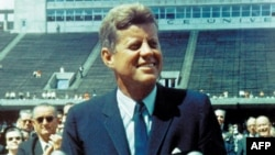 "U.S. President John F. Kennedy delivers his famous ""moon"" speech at Rice University in Houston on September 12, 1962."