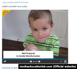 Один із слайдів з її презентації, яка має назву «Все, що потрібно для протидії дезінформації, можна дізнатись у дитячому садку»