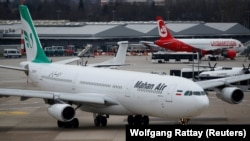 FILE PHOTO: An Airbus A340-300 of Iranian airline Mahan Air taxis at Duesseldorf airport, January 16, 2019