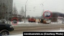 Policijsko osiguravanje Putinovih plakata u Novokuznjecku