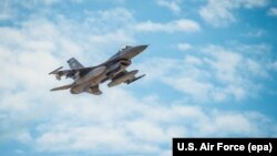 An F-16 Fighting Falcon flies over Luke Air Force Base in Arizona last month.