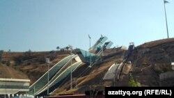 Комплекс лыжных трамплинов, построенных к 7-м зимним Азиатским играм. Алматы, сентябрь 2013 года.