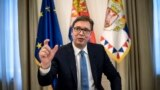 SERBIA -- Serbian President Aleksandar Vucic gestures during an interview with AFP, in Belgrade, May 14, 2018
