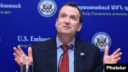 Armenia - U.S. Ambassador Richard Mills holds his first news conference in Yerevan, 13Feb2015.
