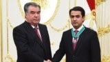 "Tajikistan,Dushanbe city, Emomali Rahmon award his son Rustami Emomali medal ""Zarrintoj"", 30August2018 (photo from tajik president official website)"