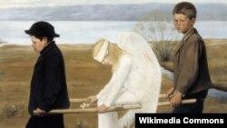 """Репродукция картины """"Раненый ангел"""" финского художника Хуго Симберга"""